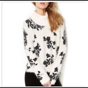 Vince Camuto White & Black Fuzzy Floral sweater M
